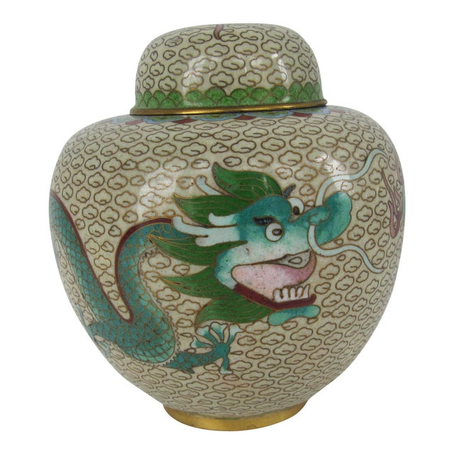 Cloisonné Giner Jar With Dragon For Sale