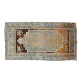 Small Rug Distressed Low Pile Yastik Rug Faded Bath Mat- 18'' X 35'' For Sale