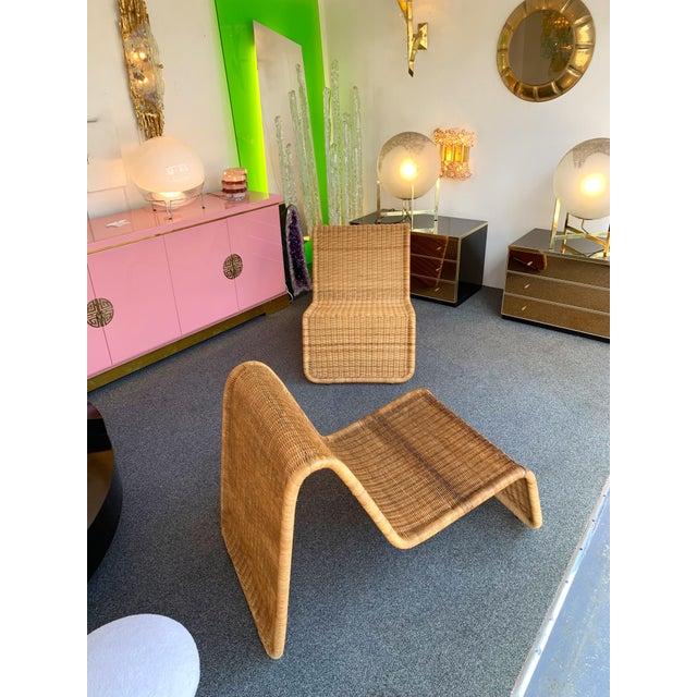 Pierantonio Bonacina Pair of Rattan Lounge Chair P3 by Tito Agnoli. Italy, 1960s For Sale - Image 4 of 12