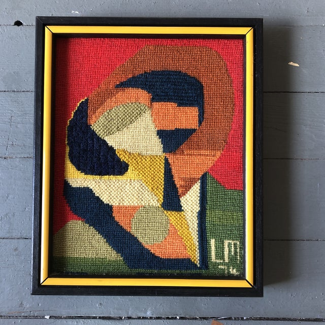Original Vintage Hand Done Abstract Needlepoint 1974 Custom Frame For Sale In Philadelphia - Image 6 of 6