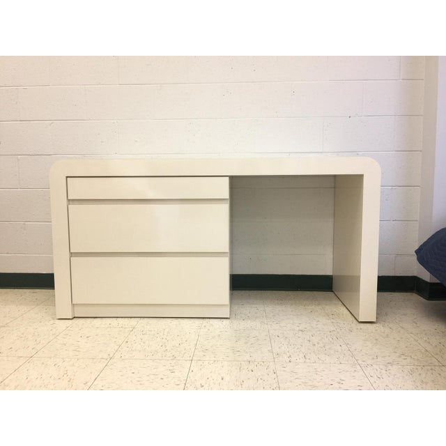 Vintage White Lacquer Waterfall Desk For Sale - Image 9 of 9