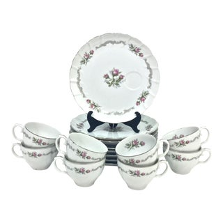 Vintage Porcelain Luncheon Set, Svc for 8 For Sale