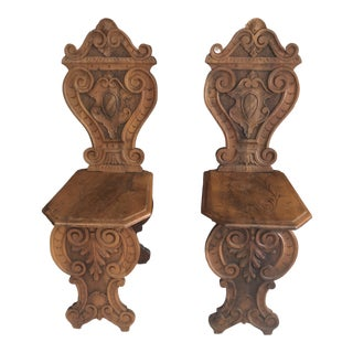 18th Century Italian Walnut Sgabello Side Chairs - a Pair For Sale