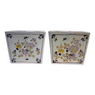 Colonial Williamsburg Reproduction Delftware Posy Holders - A Pair
