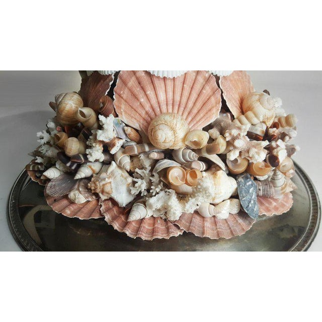 Handmade Exotic Sea Shell Encrusted Silver Plated Display Pedestal For Sale In Dallas - Image 6 of 10