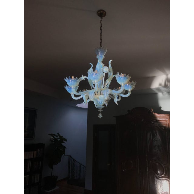 Glass Murano Chandelier Circa 1940 For Sale - Image 7 of 8