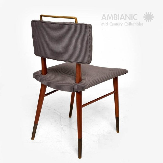 1960s Set of 15 Mid-Century Modern Mahogany & Brass Dining Chairs For Sale - Image 5 of 10