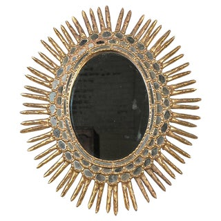 Early 20th Century Antique Spanish Giltwood Sunburst Mirror For Sale