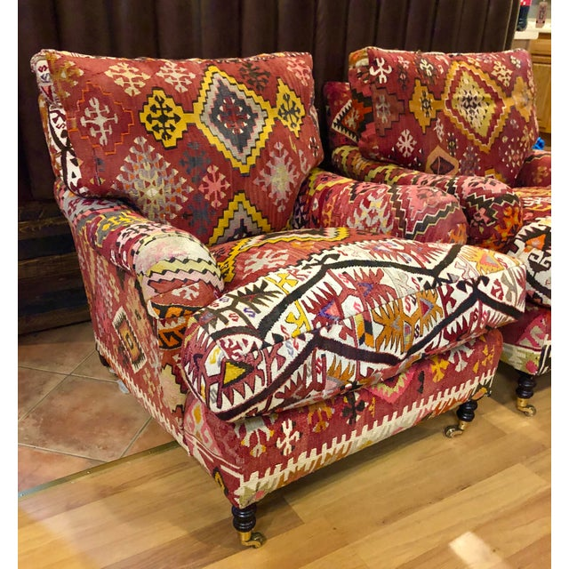 These George Smith Loose Back Standard Arm chairs are in a beautiful Kilim and in great shape. The cushions are down...