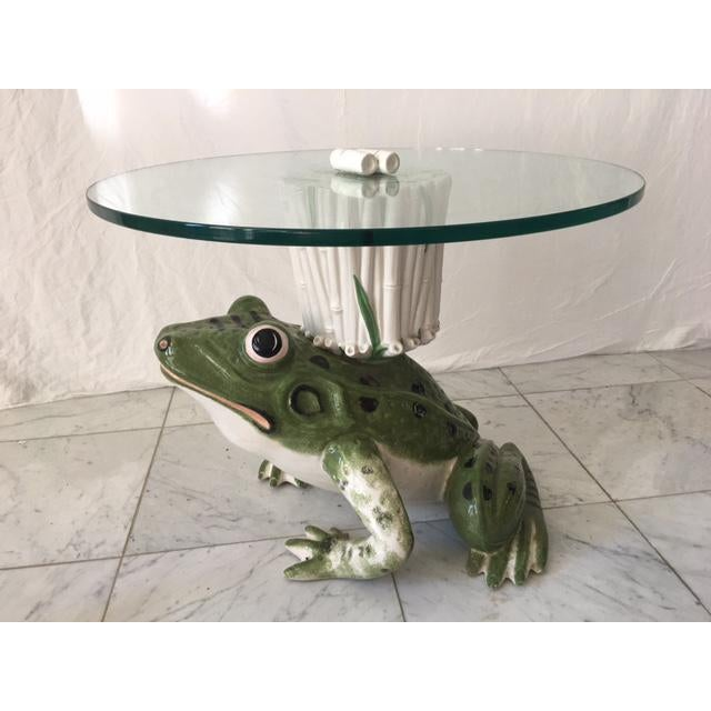 1960s Italian Ceramic Glass Top Frog Table For Sale - Image 5 of 7