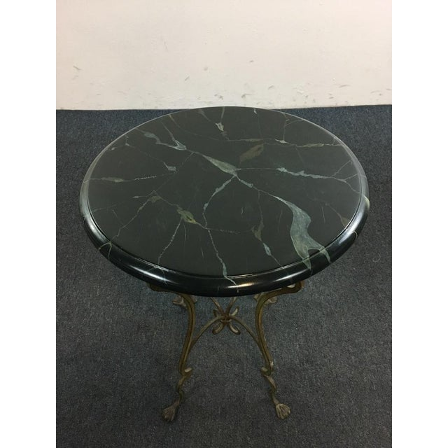 Contemporary Metal Scroll Marble Top End Table - Image 3 of 4