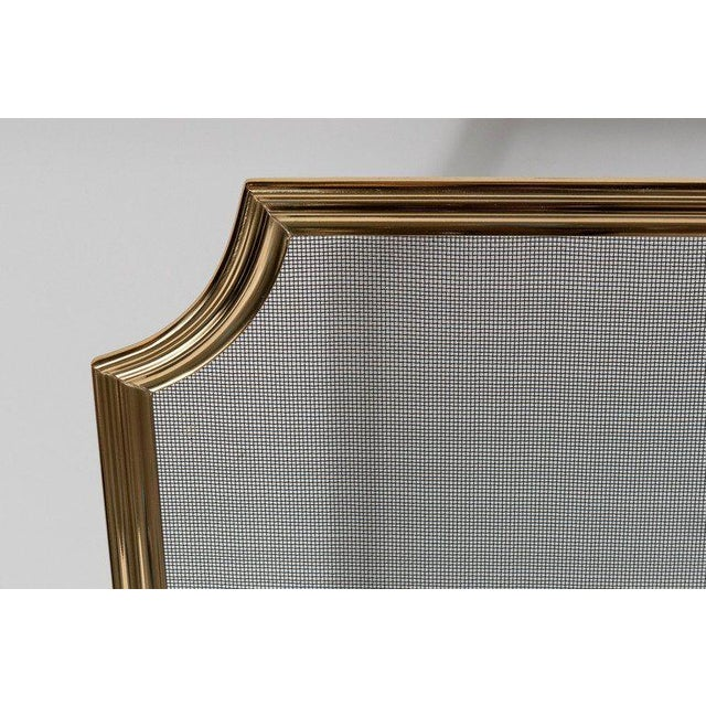 Custom Modern Fire Screen in Polished Brass with Curved Corner Detail For Sale In New York - Image 6 of 9