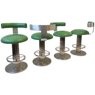Set of Four Chrome and Leather Swivel Barstools by Design for Leisure Ltd For Sale