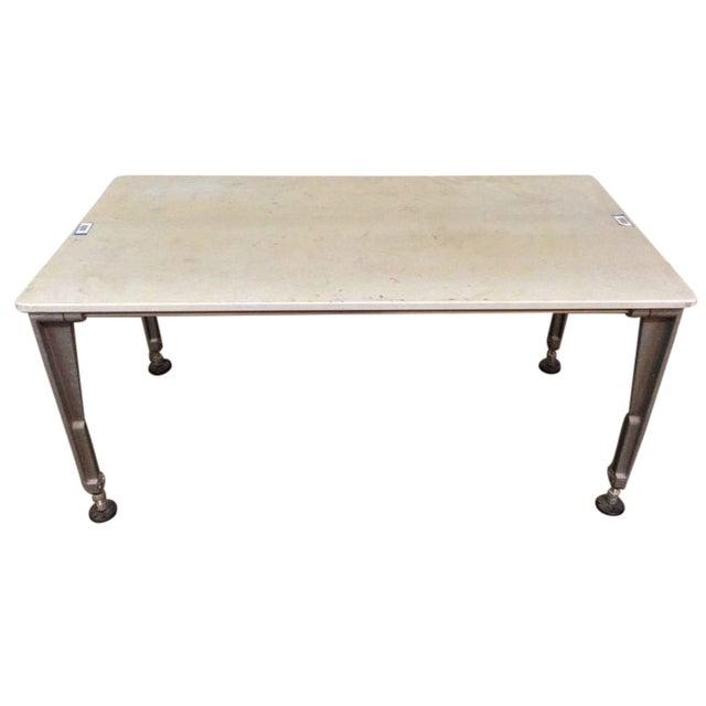 Industrial Metal & Laminate Work Table - Image 1 of 3