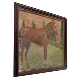 Vintage Mid-Century Race Horse Painting Preview