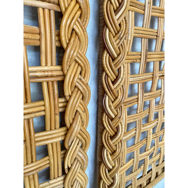 Brown Vintage Woven Braided Rattan Headboards- a Pair For Sale - Image 8 of 13