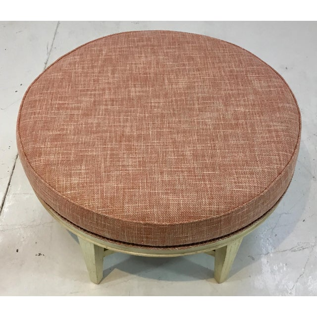 Transitional Pearson Transitional Coral Upholstered Ottoman #169 For Sale - Image 3 of 5