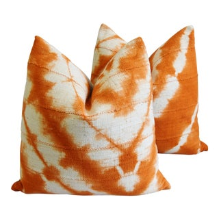 "Tangerine Orange & White Mali Tribal Abstract Mud Cloth Feather/Down Pillows 22""- Pair For Sale"