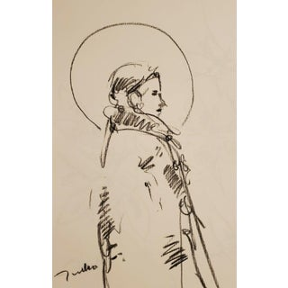 Saint Figure Original Charcoal Paper Sketch Drawing by Jose Trujillo For Sale