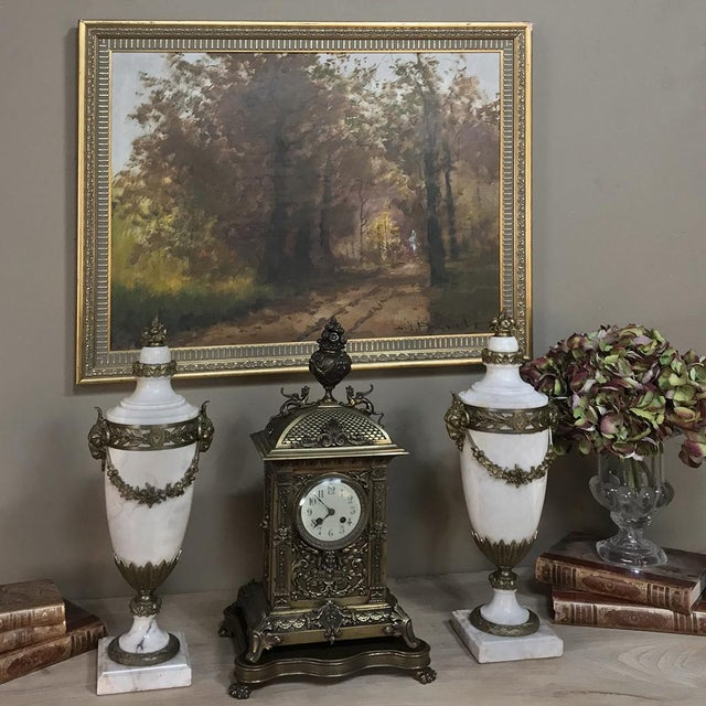 Pair 19th Century French Louis XVI Marble Cassolettes ~ Mantel Urns With Bronze Mounts For Sale - Image 9 of 12