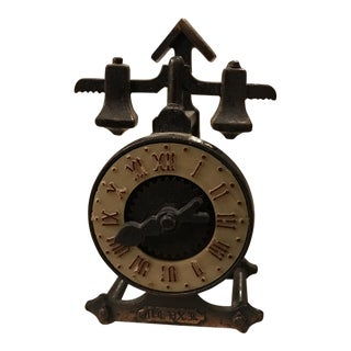 Antique Finished Die-Cast Copper Miniature Clock Pencil Sharpener For Sale