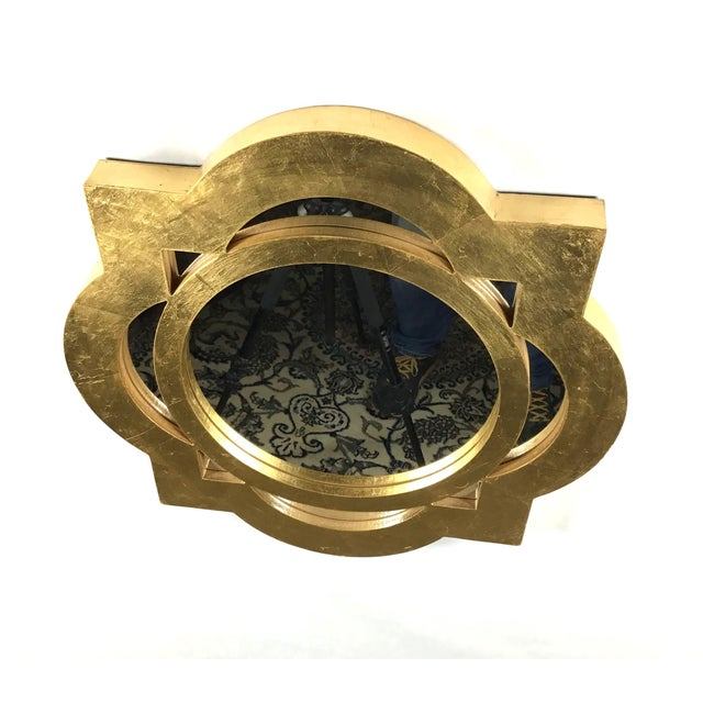 Abstract Modern Gilt-Gold Painted Wood Framed Mirror For Sale - Image 3 of 5