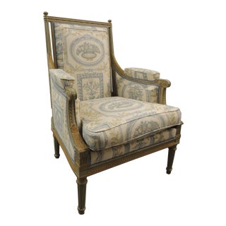 19th Century French Fauteuil with Carved Wood Frame