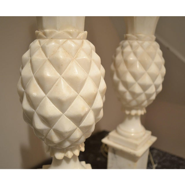 1950s Italian Alabaster Pineapple Lamps - a Pair For Sale In New York - Image 6 of 12