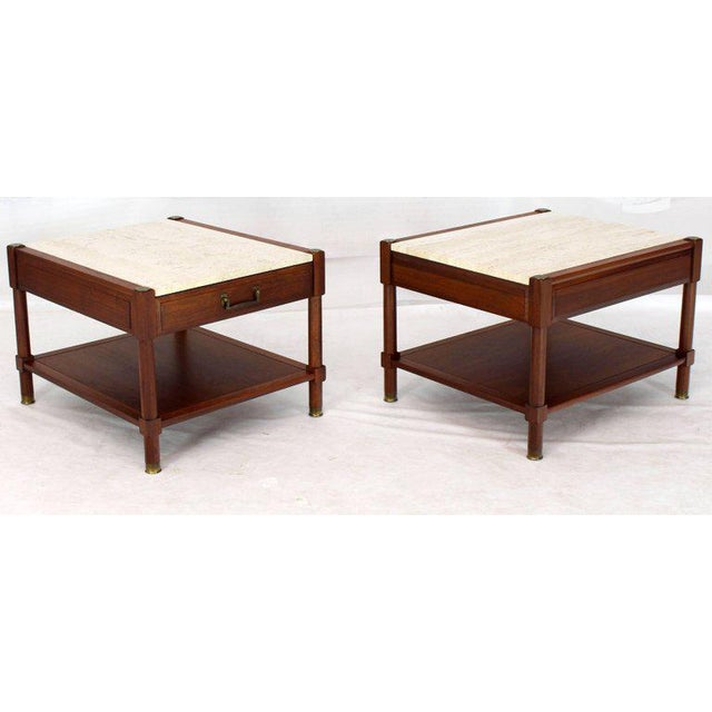 Pair of Travertine Tops One Drawer Oiled Walnut End Side Tables For Sale - Image 11 of 13