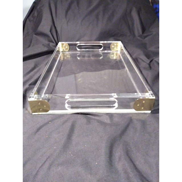 Transparent 1970's Jonathan Adler Minimalist Lucite Trays For Sale - Image 8 of 10