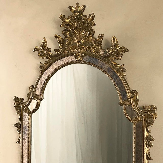 Mid-Century Italian Venetian Gilded Mirror For Sale - Image 4 of 13