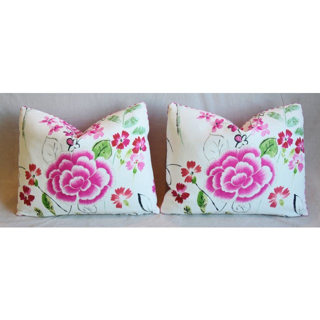 """French Manuel Canovas Floral Linen Feather/Down Pillows 23"""" X 17"""" - Pair For Sale In Los Angeles - Image 6 of 13"""