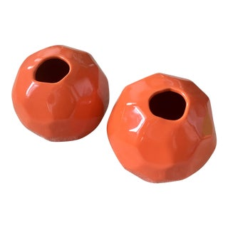 "Global Views Geometric ""Nugget"" Bud Vases - a Pair in Orange For Sale"