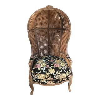 1960s Vintage Hand Carved Caned Hooded Double Rattan Chair For Sale