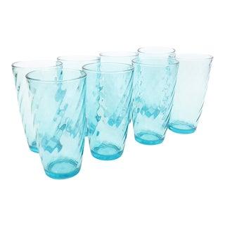 Vintage Aqua Swirl Tumblers - Set of 8 For Sale