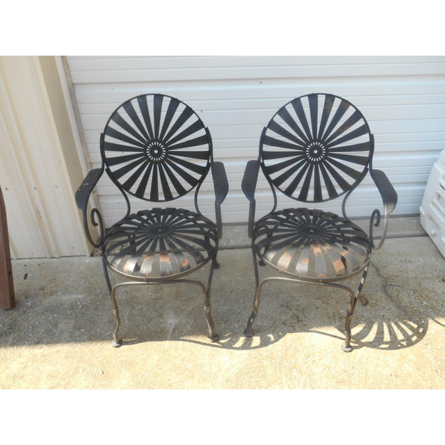 High Quality Vintage Pair of Metal Patio or Garden Spring Chairs Designed by Francois Carre in the Art Deco Style Clean...