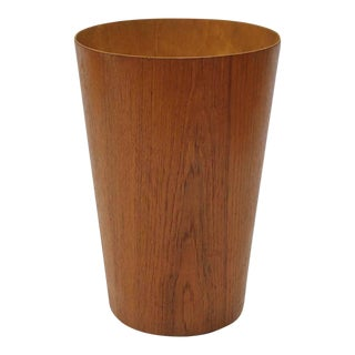 Mid-Century Tall Teak Danish Waste Basket For Sale