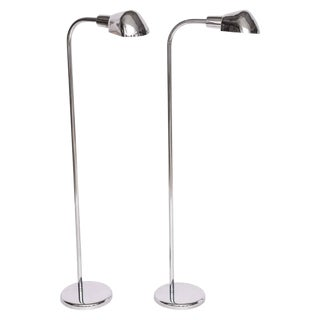 American Art Deco Revival Aluminum and Chrome Metal Floor Lamps - a Pair For Sale