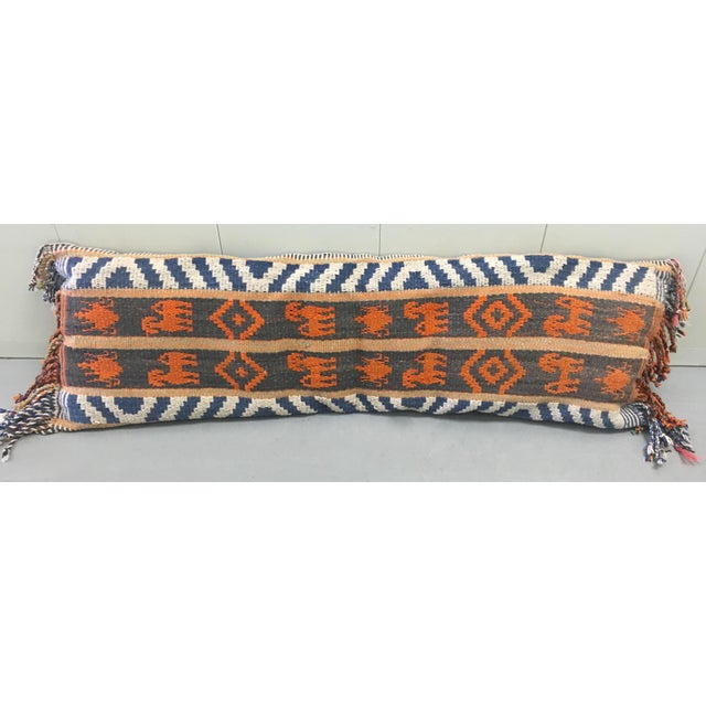 1970s wool Kilim lumbar pillow. Backed in royal blue cotton. Sewn shut style.