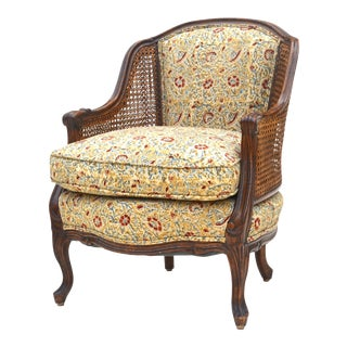 Antique Walnut Double Caned Bergere XV Style Chair For Sale