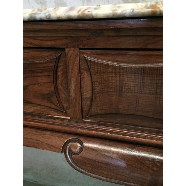 Brown 19th French Three Drawers Console Table With Top Marble For Sale - Image 8 of 11
