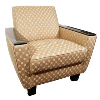 Art Deco Club Chair with Lacquer Armrests and Taupe Upholstery For Sale