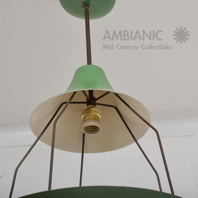 1950s 1950s Mid-Century Modern Pistachio Green Tiered Italian Chandelier Lamp, Italy For Sale - Image 5 of 11
