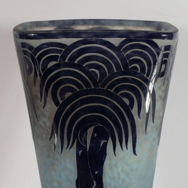 1930s La Verre Francais Stylized Palm Tree Cameo Glass Vase by Charles Schneider For Sale - Image 5 of 11