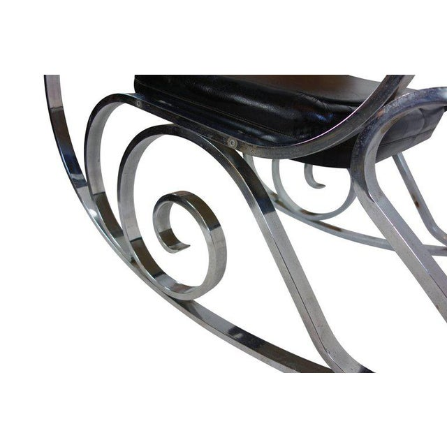 Metal Maison Jansen Black Leather Rocking Chair For Sale - Image 7 of 10