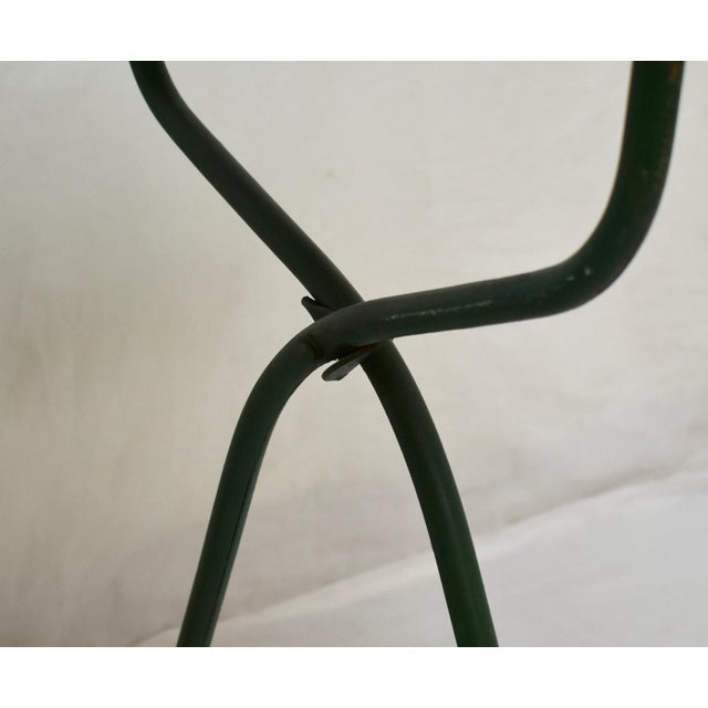 Green Vintage Porcelain Enamel Baby Bath on Folding Wrought Iron Stand For Sale - Image 8 of 13