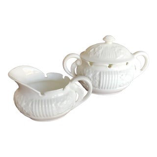 1950s White Porcelain Creamer & Sugar by k.t.&k. - a Pair For Sale