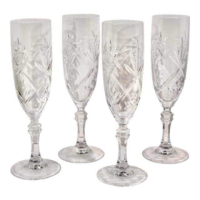 Mid 20th Century Cristal De Paris Lead Crystal Hand Cut Champagne Glasses - Set of 4 For Sale