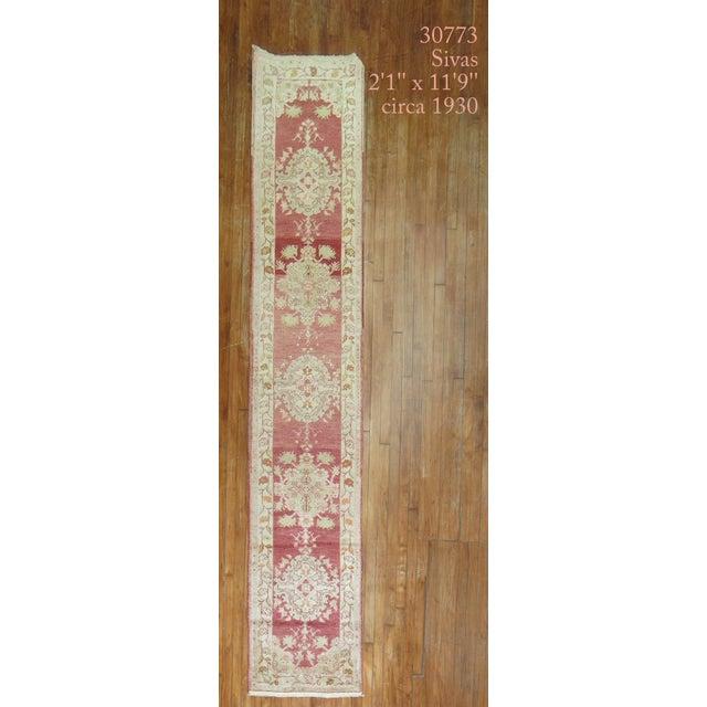 Red Antique Turkish Sivas Runner, 2'1'' X 11'9'' For Sale - Image 8 of 8