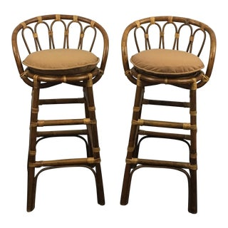 Bamboo Low Back Stools - A Pair